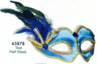 PEACOCK BLUE FEATHER MASK