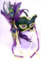 VELVET MASK in GREEN w/ FEATHERS AND RIBBONS