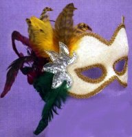 BEIGE VELVET MASK w/ FEATHERS, SEQUINS