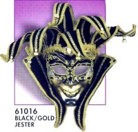 BLACK & GOLD JESTER MASK, VENETIAN