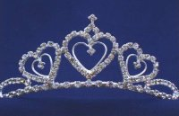 TIARA - RHINESTONE SILVER with HEARTS