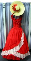 Southern Belle Costume, Size 7 - Small, Red