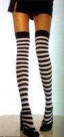 STOCKINGS RED - BLACK STRIPE - THIGH