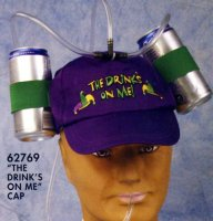 MARDI GRAS BASEBALL CAP with DRINK HOLDERS
