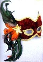 FEATHERED VELVET MASK with SEQUINS