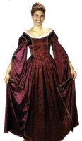 Guinevere Costume, Burgundy, Size Large