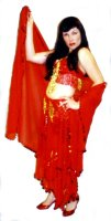 Red Beaded Belly Dance Costume, Size Med - XLarge