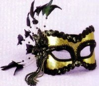 GOLD MASK w/ BEADS, COQUE FEATHERS, SEQUINS