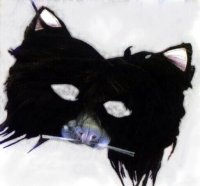 FURRY CAT MASK BLACK