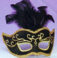 VELVET MASK with FEATHERS