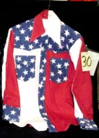 Cowgirl Shirt, Red White Blue, Size Md
