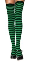 STOCKINGS GREEN - BLACK STRIPE - THIGH