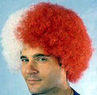 CLOWN WIG - MEDIUM - Red & White