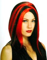 SINISTER WIG - BLACK WITH RED STREAKS