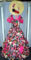 Southern Belle Costume Size 14 - 16 MD - LG, Fuschia/Black