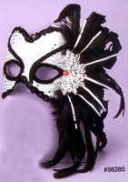 WHITE and BLACK MASK with FEATHERS, SEQUINS