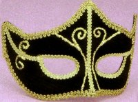 BLACK & GOLD VELVET MASK