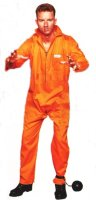 CONVICT COSTUME - ESCAPED ORANGE JUMPSUIT #85108