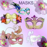 Masquerade masks with feathers, beads, flowers, netting. Couples matching masks.