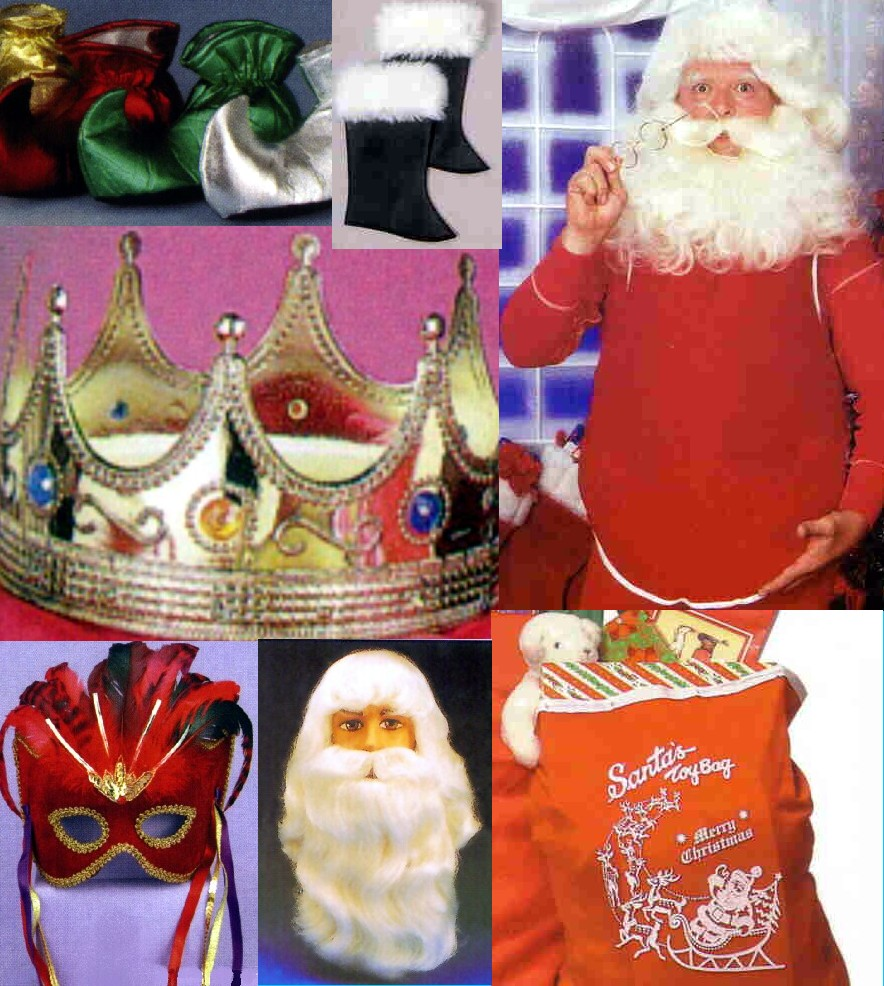 Santa glasses, gloves, hats, belts, boot tops and wigs. Mrs. Claus might need some glasses too!