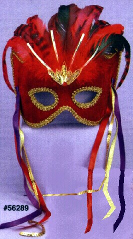 RED VELVET MASK W/ FEATHERS, RIBBONS AND SEQUINS