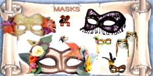Fantasy masks with feathers, beads, flowers, netting. Couples matching masks.