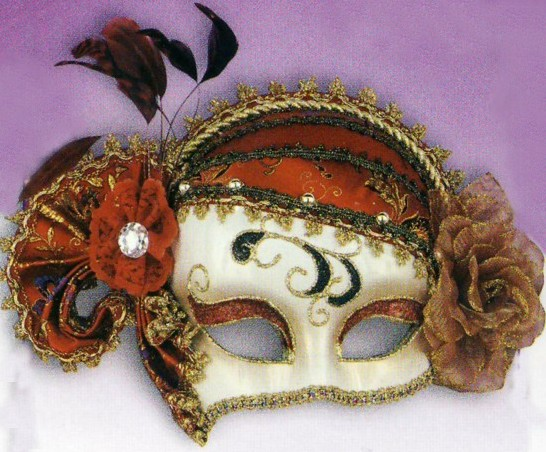 FANCY RED & BLACK MASQUERADE MASK