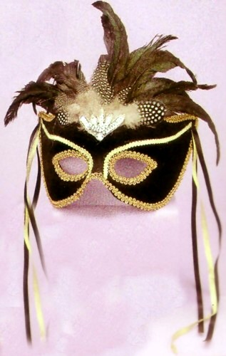 BLACK VELVET MASK W/ FEATHERS AND RIBBONS