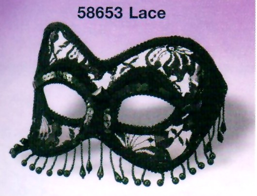 LACE MASK, BEADS, SEQUINS