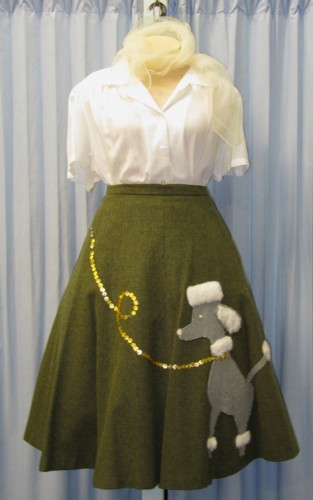 Nineteen Fifties - Poodle Skirt Costume Size MD, Olive