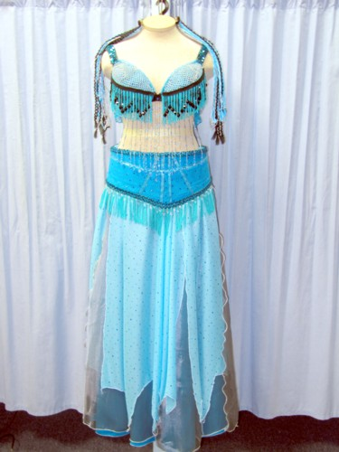 Teal Belly Dance Costume, Size 16 - 20 Lg - XL