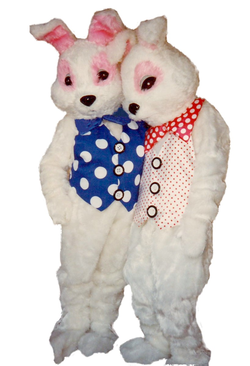 Bunny Costume, Size Most, Blue Polka Dot