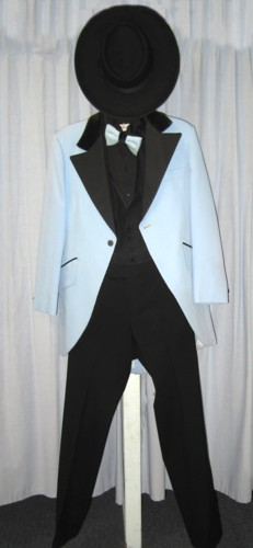 "Riverboat Gambler Man or Boy Costume Size 37"" XSM, Blu"